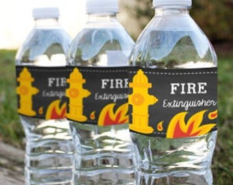 Chalkboard Fireman / Firefighter Water Bottle Labels - Fireman Printables - Instant Download and Edit at home with Adobe Reader