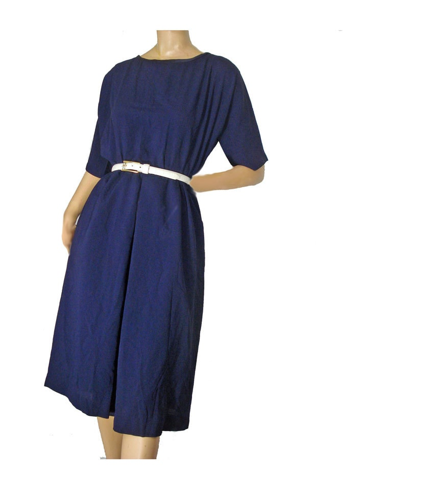 Navy Blue Vintage 1950s Party Dress M By Susiesboutiquecloths