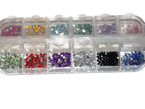 Nail Art Rhinestones / Gems Size 6ss 2mm  - Case Included - 12 Slot Nail Case - Round Gems in 12 colors