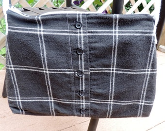 Medium Lined Black Plaid Purse / Handbag / Tote Bag / Crossbody,Receated from Upcycled Women's Skirt,Inside is Lined w/ Pockets,Zipper Close