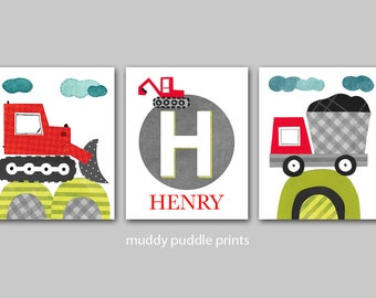 Personalized construction prints,Red and Grey Nursery decor, nursery art, kids room wall art, boys room - my name little digger