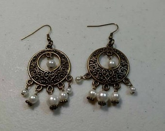 Brass & Pearl earrings
