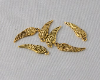 20 pcs - Tiny 16mm Antique Gold Angel Feather Wing Charms