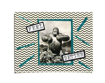 King Kong Feel Better Get Well Greeting Card - Wellness, Grief, Special Occasion