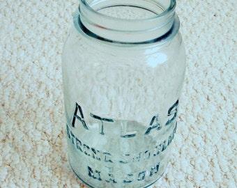 Antique light aqua Atlas Strong Shoulder Quart Size Mason Canning Jar circa 1940