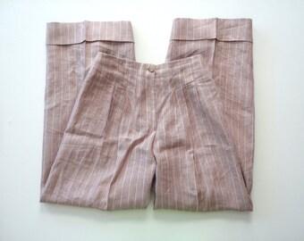 CARNET for Bill Cairo Pink Pinstripe Wide Leg Linen Pants. Sz 4.
