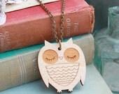 Laser Cut Wooden Owl Necklace