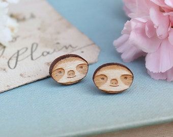 Laser Cut Wooden Sloth Stud Earrings