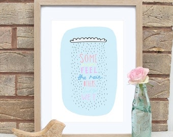 A4 Motivational Rain Cloud Print with Bob Marley Quote