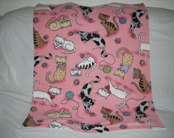 Kitty Blanket - playful kitties on pink with solid light heather gray on the reverse side