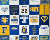 T-shirt Quilt · Standard t-shirt quilt· t-shirt quilt with border· upcycle t-shirts· jersey quilt