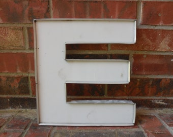 "Large Reclaimed Plastic Sign Capital Letter ""E"", Wedding, Wall Decor,  Industrial Salvage, Home Decor, Office Decor, Industrial Decor"