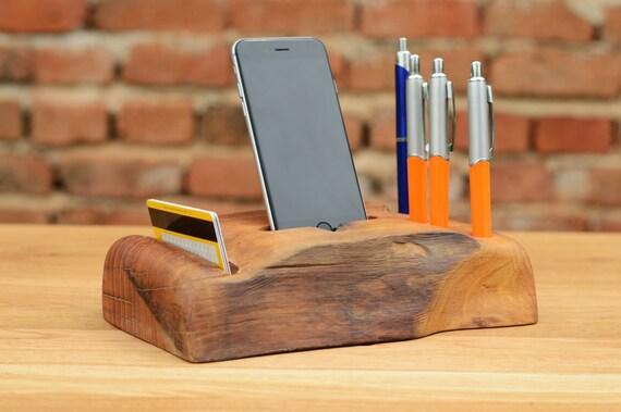 Wooden Desk Organizer iPhone 6 Dock Station Handcrafted Wooden organizer  Pen and Pencil Organizer