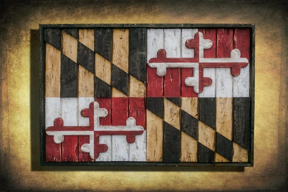 Maryland Flag Limited Edition Weathered Wood One Of A Kind