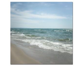Michigan Beach Photography, Great Lakes Photography, Teal, Blue, Tan, Michigan in the Fall Season, Ocean Art Print