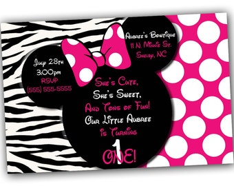 Pink Zebra Minnie Mouse Invitation or Thank you card