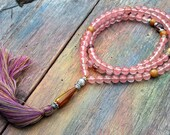 Beautiful cherry quartz gemstone mala necklace