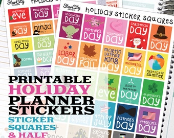 Printable Planner Stickers, Holiday sticker box, Planner Printables, planner supplies, Holiday planner, Holiday Sticker Squares, Vertical