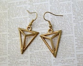 Gold Toned Triangle Earrings - Gold Toned French Hook Wires - Jewelry by BlueBoysBazaar