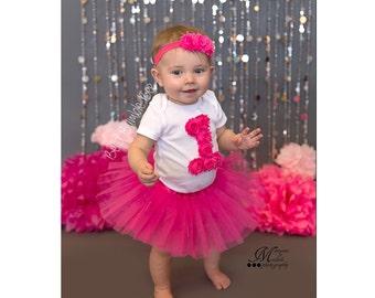 HOT PINK Baby Girl One Year Smash Cake Outfit Tutu Shabby Flower bodysuit and Matching Headband Set, Birthday Party Photo Prop Skirt