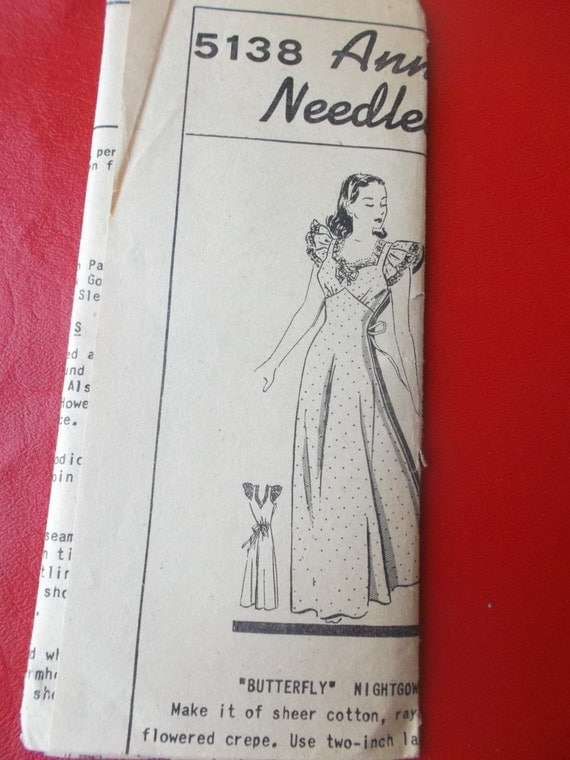 "Never Used Pattern Pieces 1940s Butterfly Nightgown Anne Cabot""s Needlecraft Corner 5138 All 3 Sizes Possible"
