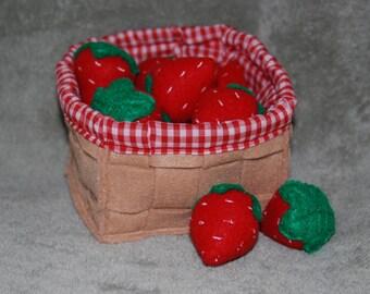 Felt Strawberry Basket