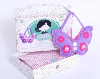 Butterfly Sewing Craft Kit in Lilac Felt