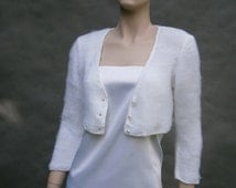 Kate -  white sweater a'la Kate Middleton  (Not only) Wedding bolero, sweater size - S/M, WHITE, 3/4 sleeves  **Ready To Ship**