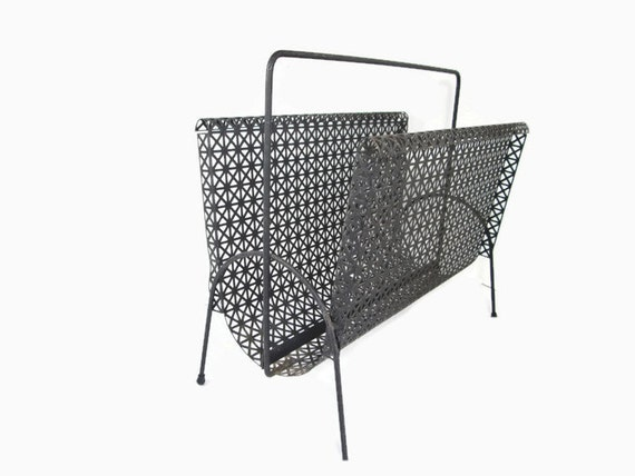wire magazine rack black mesh album holder mid by girlpickers. Black Bedroom Furniture Sets. Home Design Ideas