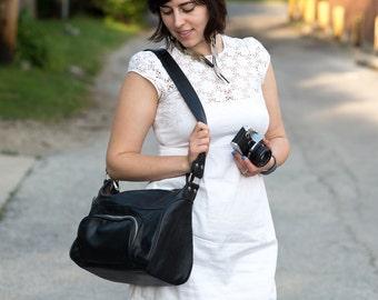 SALE! Vintage Black Faux Leather Minolta Bag
