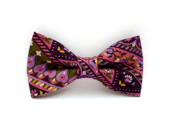 Clip on bow tie – purple and pink  – multi color stripes and floral print – mens and womens – adult size bowtie