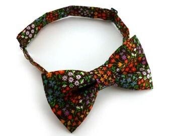 Pre tied brown floral bow tie – rustic multi color print cotton