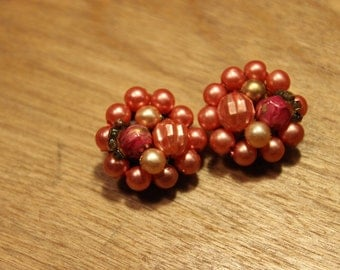 Vintage Salmon Colored Beaded Clip On Earrings, item #97