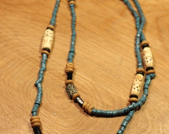 Blue Beaded w/ Carved Wood Accent Necklace, item #146