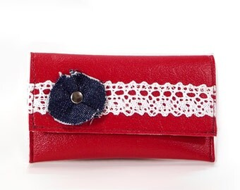 Denim & Lace Mini Wallet, Red Womens Credit Card Holder, Credit Card Wallet, Business Card Case, Business Card Holder