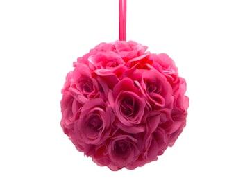 "9"" Fuchsia Hot Pink Silk Rose Flower Pomander Kissing Balls Wedding Pew Decoration Baby Shower Party Decor Valentine's Day"