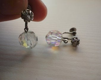 Clear Silver Dangle Clip On Ear Rings, Vintage Jewelry, FREE SHIPPING