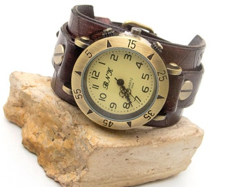Women leather watch, Leather cuff watch, Leather Wrist Watch, Retro style watch for womens