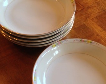 "Antique Noritake ""The Linwood"" - Set of Six Coupe Soup Bowls"
