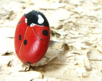 Hand painted rock ring - Red Ladybug
