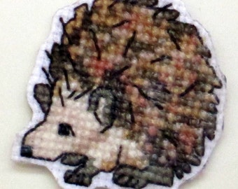 Hedgehog cross stitch magnet