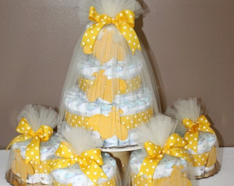 Diaper cake centerpieces for Bee themed baby shower (One large, four small diaper cake combination)