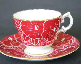 CAULDON Bone China Teacup and Saucer Set