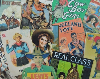 12 Pc. Vintage Western COWGIRL Romance DIE CUTS for Crafts || M14 || Free Shipping || OldPaperCat