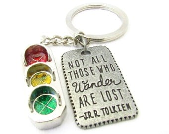 Traffic Light Keychain, Quote Keychain, Car Accessory, Traveler's Keyring, Traffic Signal Keyring, Father's Day Gift, Gift for Him