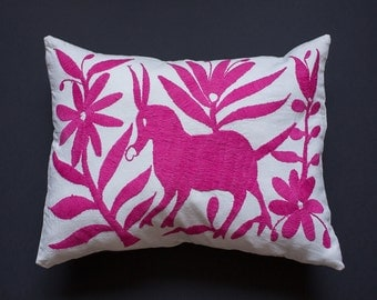 hot pink otomi embroidered pillow cover
