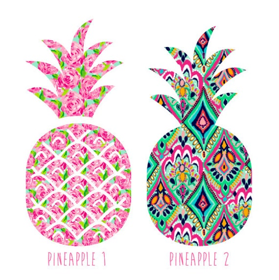 monogrammed pineapple decal lilly pulitzer by ginsmonogramshoppe. Black Bedroom Furniture Sets. Home Design Ideas