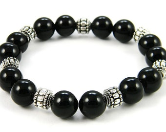 REDUCED Onyx Bracelet with pewter accent beads (Handmade in the USA)