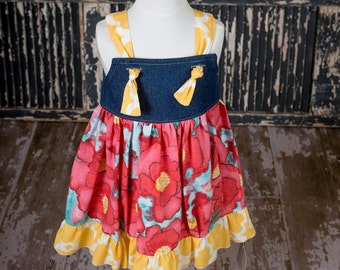 Sunny Petals Denim Knot Dress
