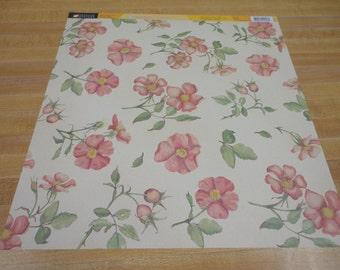 American Traditional 12x12 Scrapbook Paper Sea Roses